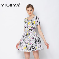 floral casual lovely fashion dress party women 2015, designer one piece short dress
