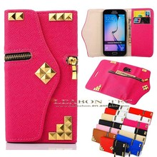zipper New arrival Elegant Style Flip Leather for samsung galaxy s6 case made in china