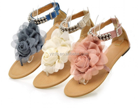 Latest Peeped Toe Lace Loop Bohemia style sandals for girls
