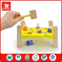 2015 Hot sale baby educational toy hammer mouses 7pcs safe paint good quality wood material hammer toys confirm to EN71 and ASTM