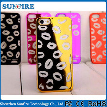 Electroplating Plastic phone case for iphone 5 red lip case