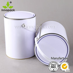 5L Wholesale open head white metal paint container/bucket