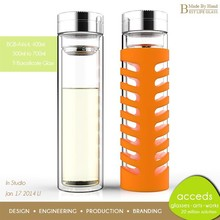 Wholesale Handcrafted Modern BPA Free Pyrex Glass Bottle With Tea Infuser