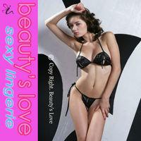 ladies wet look Peek a pook bra set sexy vinyl lingerie