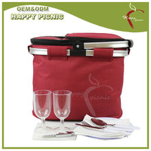 Metal Handle Red Color 600D Fitted Tote Chaep Cooler Bag