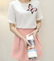 d20052f 2015 summer Korean fresh style short sleeve tops+ skirt suit
