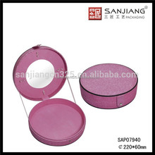 Wholesale cheap pink round cosmetic case with mirror