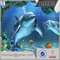 Foto high quality 3D inkjet dolphin decorative wall tile