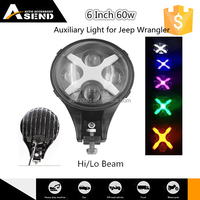 made in china 6 inch auxiliary lamp for Jeep Wrangler offroad high low beam 60w auxiliarylamp 4x4 led auxiliary lamp
