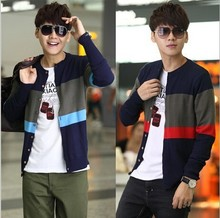 D70912H 2015 Korean men stripe knit cardigan sweater Crewneck sweater for men