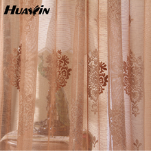 polyester curtain model embroidery curtain transparent gauze shade blue embroidery lace
