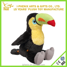 Big Mouth Stuffing Plush Wild Bird Lifelike Plush Toucan Bird Toy For Promotion
