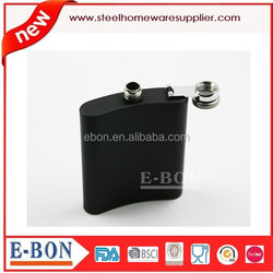 Black painting 8oz hip flask qualified for FDA and LFGB