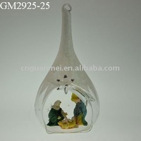 glass christmas nativity drip with the family of Jesus