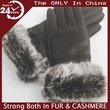 Winter gloves women sheep skin Rabbit fur gloves