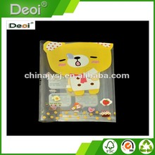 Deoi OEM professional stationery factory creative design waterproof thread gluing Plastic PP Book Cover with yellow bear photos