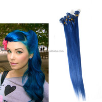 Fast Delivery 100 Keratin Tip Human Hair Extension, Blue U Tip Hair Extension