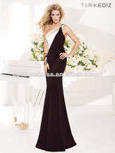 Caliente elegante vestido de blanco y negro partido 2014 trajes de las señoras de largo de fiesta por la noche vestido de desgas