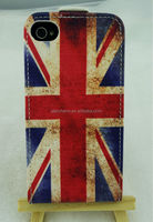 New Product UK National Flag Style PU Leather Case for iPhone4