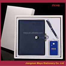 pu leather business gift notebook pen set,notebook pen mobile charger gift set,business notebook pen gift set