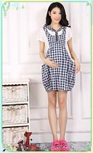 YD check cotton woven maternity sleeping dress