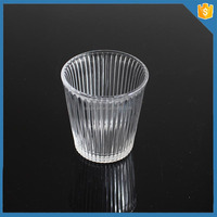 ribbed crystal glass tealight candle cup holder