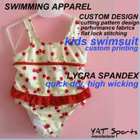 Lycra spandex fabrics Custom printing one piece kids swimsuit