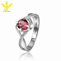 Solid 18K White Gold 1.2ct Natural Pink Tourmaline Genuine Diamond Wedding Ring