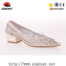 low price beige low heel comfortable shoes with laser cut daily life for women of china supplier