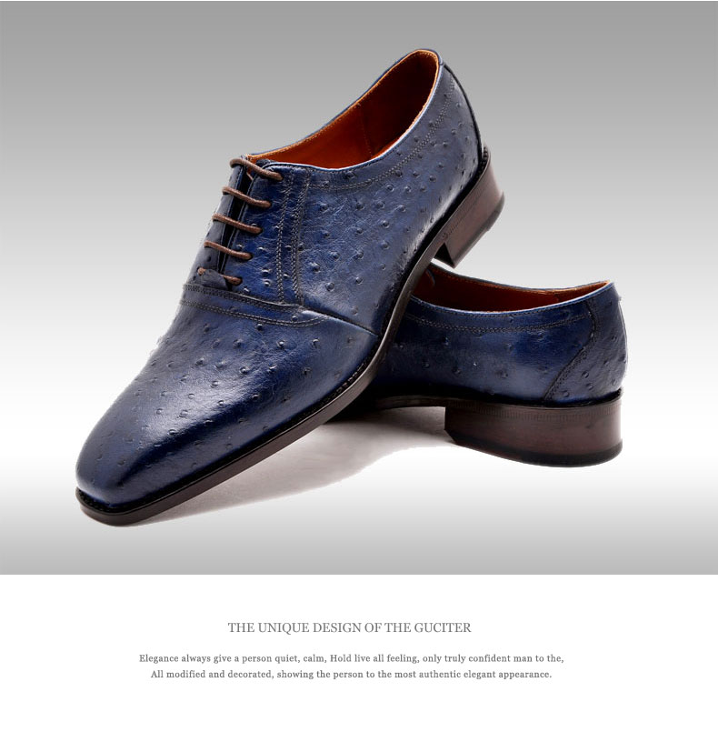 Custom made Ostrich Skin Mens Shoes Real Animal Leather