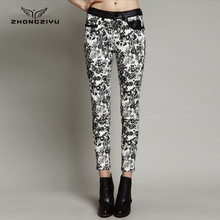 fall and winter new design fashion women floral print tight leg ankle pants