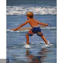 handmade children playing on beach oil painting on canvas, Sunny Kid(1)