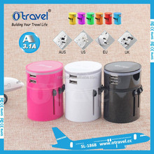 Newest 5V 3100ma LED light world travel adapter, Universal Travel Adapter with Dual USB Port charger