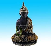Delicate large dark Resin praying thai buddha statue figure