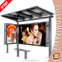 high quality used bus shelters for sale solar advertising bus shelter with outdoor LED billboard