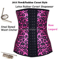Rose Red Latex Leopard Printed Chic Ladies waist Training Corset