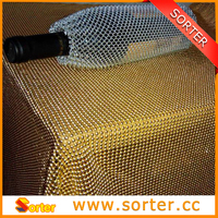golden sequin metallic fabric mesh curtain for table cloth table skirt table cover