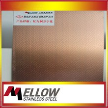 Custom Etching/Red Broze Pattern Stainless Steel Sheet from Foshan China Manufactuer with 11 years experience
