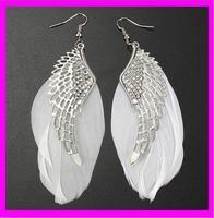 fashion wholesale white angle long feather earrings
