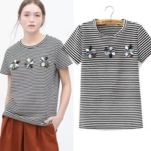 2015 Women New Arrivals Fashion Tops Short Sleeve White Black Striped Bead T Shirt For Sale SLT-1504030