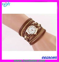 2015 Casual slim cheap luxury gold hand watches,small dial with chain