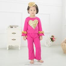 Boutique Halloween Pumpkin Girls Baby Toddler 2 pc Outfit Dress Top& dots Ruffles Pants Cotton Outfits