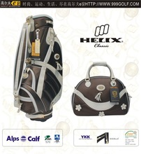 Helix ladies design PU golf bag with shoe bag/ women golf bag with boston bag/golf travel bag with shoes compartment
