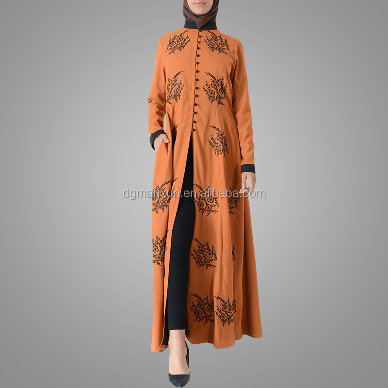 Latest embroidered muslim front open abaya islamic clothing for women turkish cardigan (1).jpg