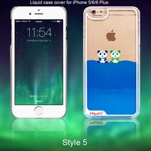 Fashion Liquid Panda Transparent Plastic Hard Back Case Cover Phone Accessoriess for Apple iphone 5/6/6 Plus