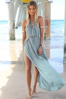 Неотразимый хаки макси платье, показывая шнурок, крепления под бюст lq4479