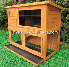 Wooden 2 story rabbit hutches with Sloped Roof / Rabbit house with cleaning tray