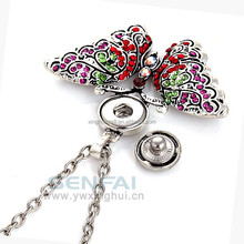 Colorful Crystal Butterfly Snap Button Decoration Necklace