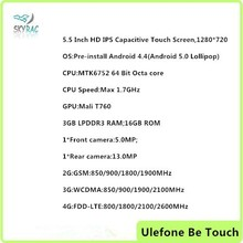 2015 Hot ULEFONE BE TOUCH 3GB MTK6752 1.7GHz Octa Core 5.5 Inch IPS OGS FHD Screen Android 4.4 4G LTE Smartphone