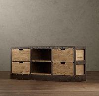vintage european style wood rustic TV stand